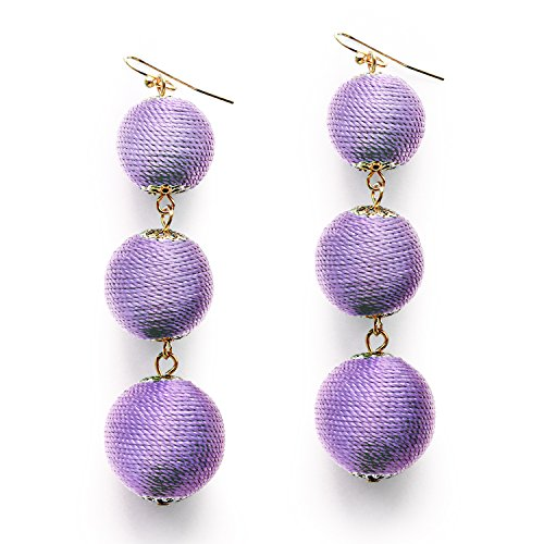 Violet Ball (Violet Thread Wrap Ball Dangle Earring Bohemian Long Drop Purple Tassel Ball Earrings for Women Girl)