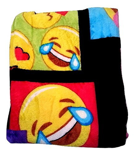 Emoji Faces Black Plush Throw