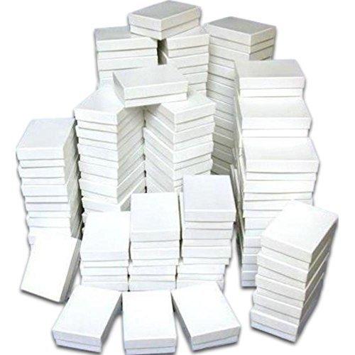 Jewelry Box Chain White (100 Cotton Boxes White Pendant Chain Jewelry Displays 3.25