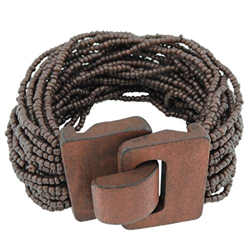 Coiris Wooden Buckle Clasp Multi Layers Beads Wide Bracelet for Women with Elastic (BR1167-brown)