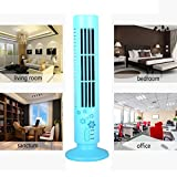 Botrong New Mini Portable USB Cooling Air Conditioner Purifier Tower Bladeless Desk Fan (Blue)