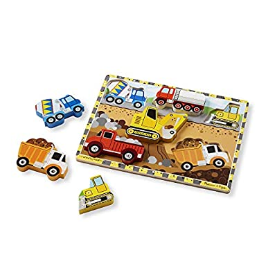 Melissa & Doug Chunky Wooden Puzzle Dinosaurs, Construction, Tools, Vehicles Puzzle: Toys & Games