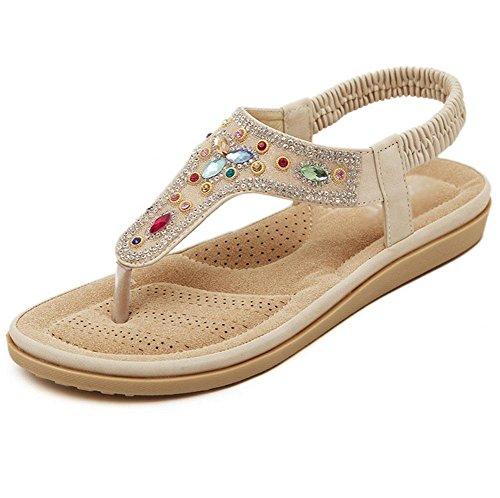 apricot con Abierta las con respirables del sandalias plano la de del clip y palabra zapatos los zapatos mujeres de de planos ocasionales cómodos pie punta dedo salvajes FFdqArxp