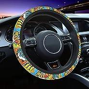 Grafffery Dominican Republic Flag Car Steering Wheel Cover for Women Men, Car Accessories, Breathable, Non-Sli