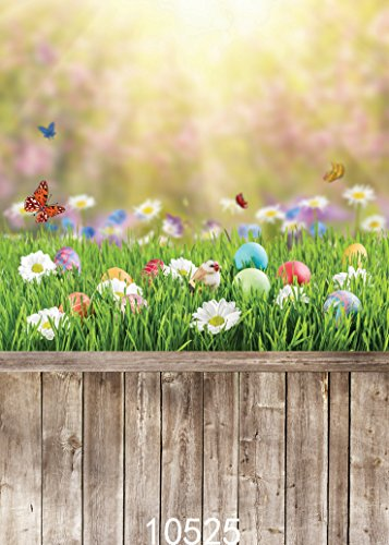 SJOLOON 5x7ft Easter Backdrops for Photography Wood Floor Spring Flower Photo Background Vinyl Studio Prop 10525