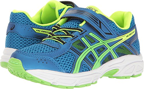 Asics Unisex Kids Pre Contend 4 Ps Running Shoes  Directoire Blue Green Safety Yellow  K12 Medium Us Little Kid