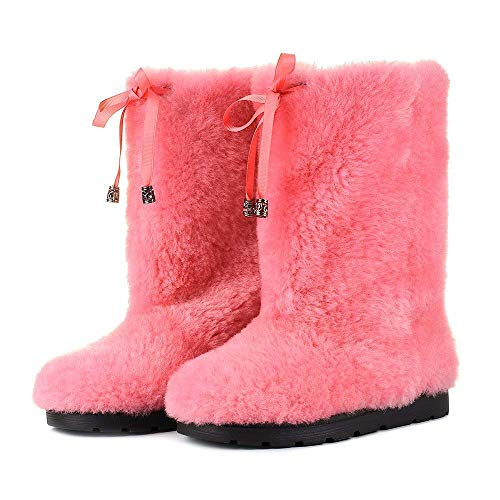 - Pink Sheepskin Winter Boots for Women, Long Boots, Snow Boots, Furry Boots, Color Boots, Mukluks, Yeti Boots, Eskimo Boots, LITVIN