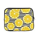 InterestPrint Funny Yellow Lemon with Black_White Stripes Laptop Sleeve Case Waterproof Neoprene Notebook Bag 13 13.3 Inch for MacBook Pro Air HP Dell Lenovo Acer Woman Man