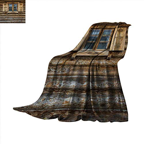 Shutterstravel blanketWindows with Shutters Patterned on The Wall of The Old Wooden House Cottage Printthrow Blanket for Couch 90