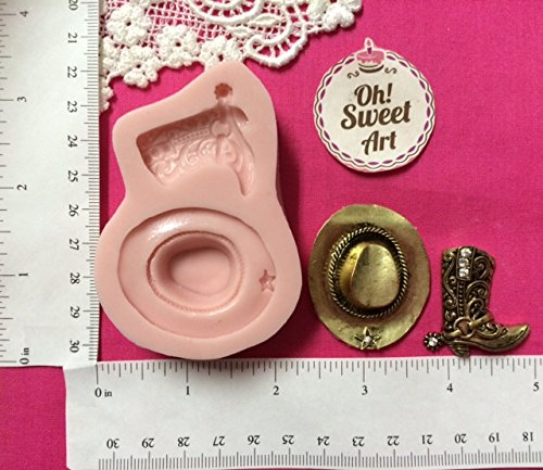 Oh! Sweet Art Cowboy Boy Hat SET,fondant, soap cupcake topper Cake Silicone Mold By FDA Approved for Food, Cupcakes