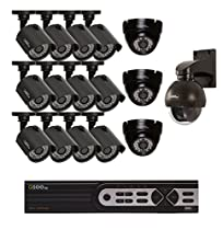 Q-See Surveillance System QTH916-16BU-2 16-Channel HD Analog DVR with 2TB Hard Drive, 15-720p Bullet/Dome Security Cameras,  1-720p PT Camera (Black)