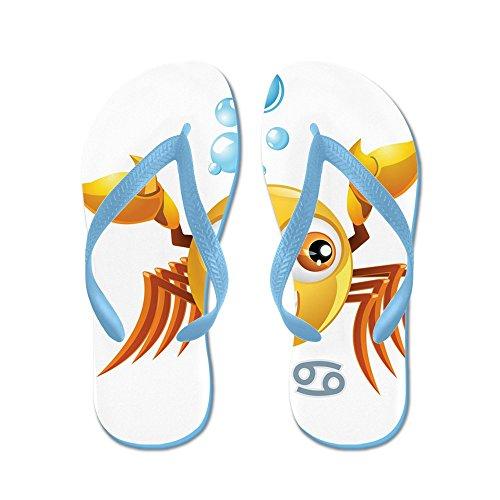 Verkligt Teague Mens Smileyface Zodiac Cancer Gummi Flip Flops Sandaler Caribbean Blue