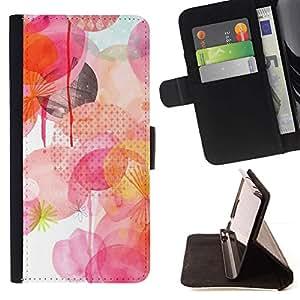 For LG G3 Case , Blanco Rosa Lunares amarillos- la tarjeta de Crédito Slots PU Funda de cuero Monedero caso cubierta de piel