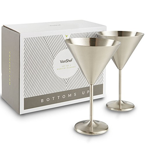 Stainless Martini Glasses (VonShef Large Martini Cocktail Glasses Set, Silver Brushed Stainless Steel, Set of 2)