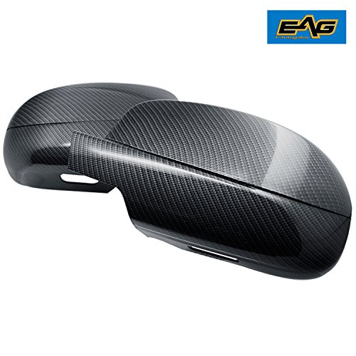 Carbon Fiber Mirror Covers - EAG 07-13 GMC Sierra 1500/Chevy Silverado 1500 Mirror Cover with Courtesy Light Cutout - Carbon Fiber Look