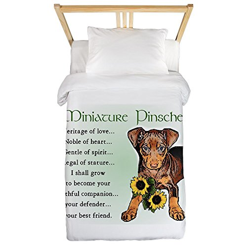 CafePress - Miniature Pinscher Twin Duvet - Twin Duvet Cover, Printed Comforter Cover, Unique Bedding, Microfiber (Akc Pin Min)
