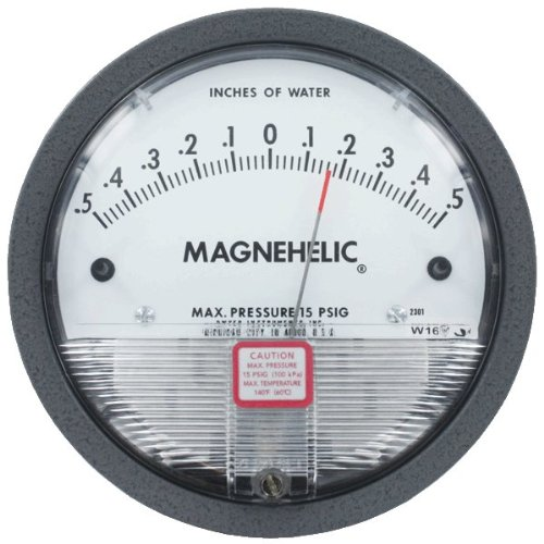 Dwyer Magnehelic Series 2000 Differential Pressure Gauge, Range 10-0-10''WC by Dwyer