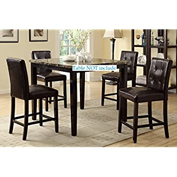Set of 4 Bar Stools Espresso Faux Leather Parson Counter Height Chairs