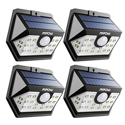 Mpow Solar Lights Outdoor, 20 LED Wide Angle Motion Sensor Lights with 30s Lighting Time Auto Prolong Function, Wireless Waterproof for Garage Front Door Garden Pathway Lighting - 4 Pack (Auto On/Off)