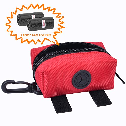 (SUMURA Pet Waste Dispenser, Pet Poop Bag Waste Bag Dispenser, with 2 Rolls of Poop Bags, with Clip onto Your Leash, Pant Loop or Keys, for Outdoors Walking, Running and Hiking (Red))