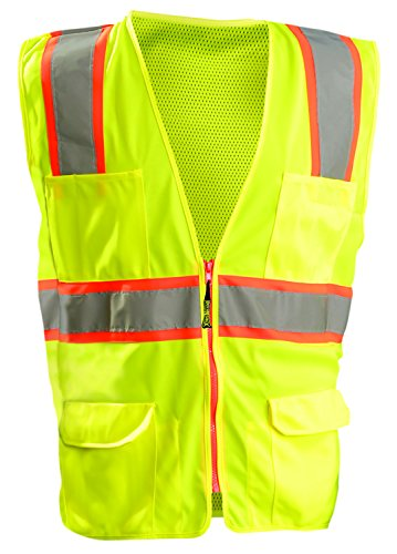 Tone Crystal Mesh - OccuNomix LUX-ATRNSM-Y2X High Visibility Classic Mesh Two-Tone Zipper Surveyor Safety Vest, Class 2, 100% ANSI Polyester Tricot front and mesh back, 2X-Large, Yellow