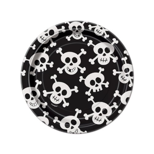 7' Cake Paper Plates - Skull and Crossbones 7