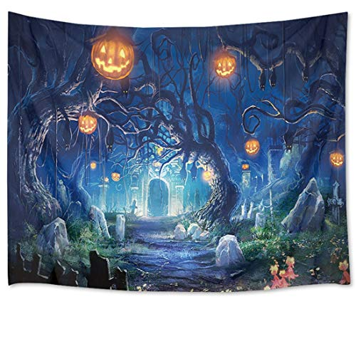 HVEST Halloween Tapestry Night Tapestry Wall Hangings Haunted Woods with Grave and Pumpkins Wall Blanket for Bedroom Living Room Dorm Decor,80 W X 60 H INCH ()