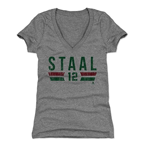 (500 LEVEL Eric Staal Women's V-Neck Shirt (Large, Tri Gray) - Minnesota Wild Shirt for Women - Eric Staal Font G)