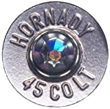 45 hornady bullet - 45 Colt Nickle Plated Tie Pin with Swarovski Crystal- Aurora Borealis (Hornady)