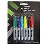 Grafix Mini Permanent Markers - Pack of 6, Mixed Colours