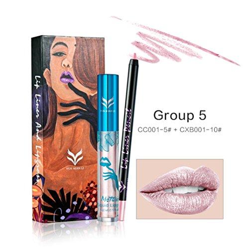 Coohole 12 Colors Professional Lipliner Makeup Waterproof Lip Liner Pencil Lip Gloss Lipliner (E) ()
