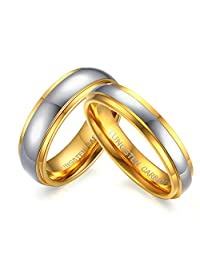 Daesar 2PCS Women Men Ring 6MM Tungsten Carbide Gold Rings Wedding Rings for Him And Her Free Engraved