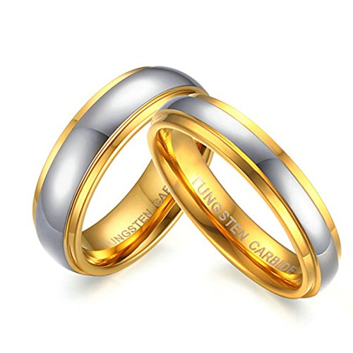 Pair Promise Rings - Daesar Gold Ring for Women Men Ring Engraved Tungsten Carbide 1 Pair Ring 4/6 Mm Women Size 6 & Men Size 8