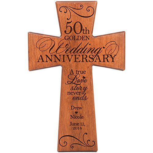 Personalized 50th Wedding Anniversary Gift for Couple Cherry Wall Cross Gifts for Her 50 year ideas for Him Custom A True Love Story Never Ends by DaySpring Milestones (12x17) -