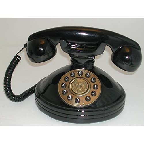 SNW30PB Black Glossy Telephone with Push Buttons in Dial shape - Nostalgic Retro Phone SNW30 PB