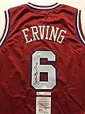 """Autographed/Signed Julius Erving """"Dr. J"""" Philadelphia 76ers Sixers Red Basketball Jersey JSA COA"""