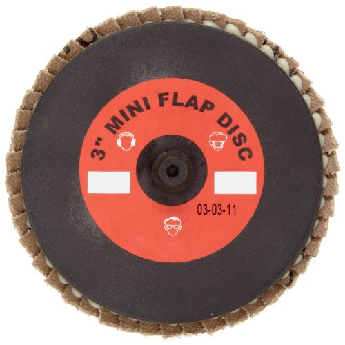 Merit Mini Powerflex Abrasive Flap Disc, Type 27, Plastic Thread Quick Change, Fiber Backing, Zirconia Alumina, 3