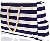 Beach Bag with 100% Waterproof Phone Case, Top Zipper, Cotton Rope Handles, Extra Outside Pocket. Blue Stripes Beach Tote has Built-In Keyholder, Bottle Opener. L22″xH15″xW6″. Made of Ripstop Oxford