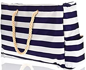 """Beach Bag XL (HUGE). L22""""xH15""""xW6"""" w 100% Waterproof Phone Case, Top Zipper, Cotton Rope Handles, Extra Outside Pocket. Blue Stripes Beach Tote has Built-In Keyholder, Bottle Opener. Ripstop Oxford"""