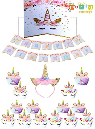 Unicorn Birthday Party Kit - Headband, CupCake Toppers & Banner - Party Favors Decorations Gift Supplies Pack