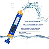Portable Water Filter Filtration Straw Purifier Survival Gear, Etekcity 1500L Emergency Camping Equipment 3-stage filtration , 0.01 Micron, Survival Kit Hurricane Storm Supplies