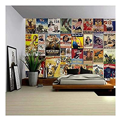 Top Quality Design, Stunning Portrait, Peel and Stick Wallpapaer American Posters Collage with Vintage War Propaganda and Classic Movie Posters Removable Large Wall Mural