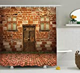 Ambesonne Rustic Decor Collection, Antique Exterior with Old Door and Windows Frontage Building Decorating Art, Polyester Fabric Bathroom Shower Curtain Set with Hooks, Peru Green Caramel Ivory
