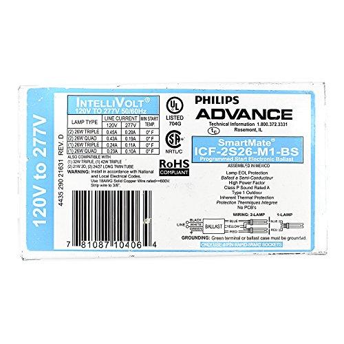 Philips Advance ICF2S26M1BS35M (2) 26 Watt CFQ26W/G24Q Lamp Electronic Fluorescent Ballast 120 - 277 Volt SmartMate (2 Lamp 26 Watt Ballast)