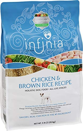 Infinia Chicken and Brown Rice Dog Food Nutritionally Complete 5 Pound 5 lb Bag