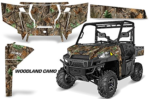 AMRRACING Polaris Ranger 900 570 2016 Full Custom UTV Graphics Decal Kit - Woodland Camo ()