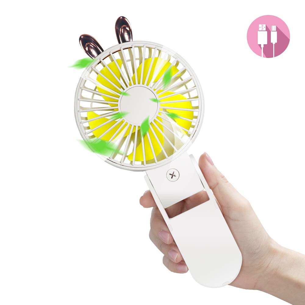 Mini Handheld Fan, FLASNAKE Small Portable Personal Desk Table Fan 3 Speed Adjustable USB Rechargeable Foldable Electric Fan for kids girls woman home office outdoor travel White