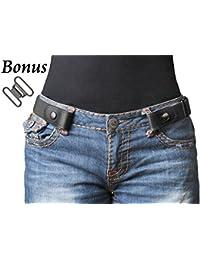 "No Buckle Women/Men Stretch Belt Elastic Waist Belt Up to 48"" for Jeans Pants Dresses"