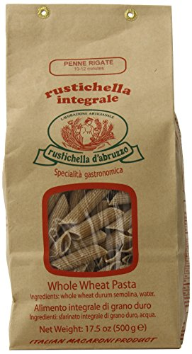 Rustichella D'Abruzzo Pasta Penne Rigate Whole Wheat in Brown Bag, 1.1 Pound