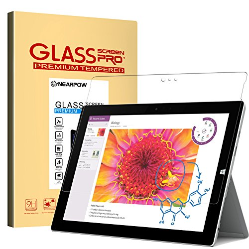 Touch Screen Windows - Microsoft Surface 3 Screen Protector 10.8 Inch, Nearpow® Tempered Glass Screen Protector with [9H Hardness] [2.5D Round Edge] [Crystal Clear] [Easy Bubble-Free Installation] [Scratch Resist]
